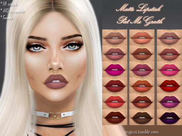Sims 4 Matte Lipstick by ANGISSI at TSR