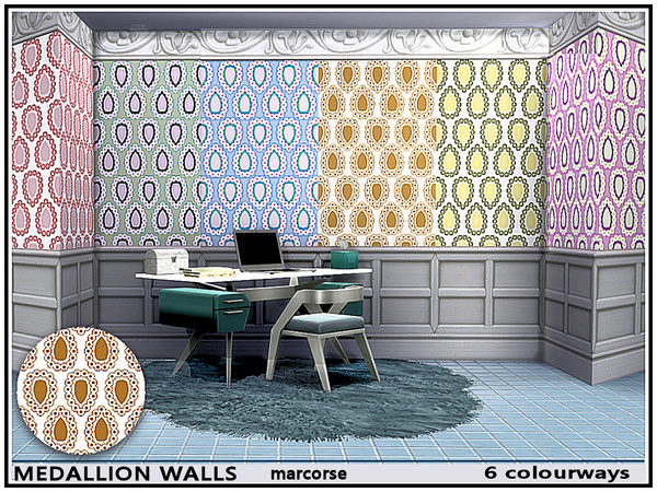 Sims 4 Medallions Walls by marcorse at TSR