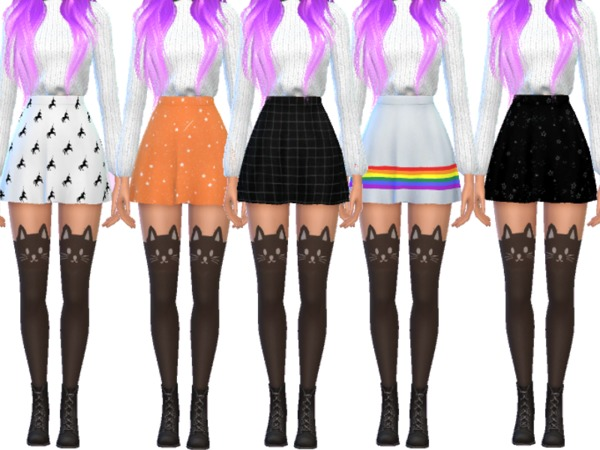 Sims 4 15 Super Snazzy Skater Skirts by Wicked Kittie at TSR