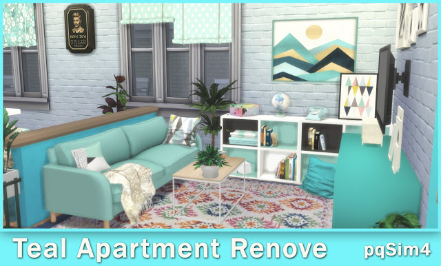Teal Apartment Renove at pqSims4 image 1069 Sims 4 Updates