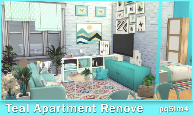 Teal Apartment Renove at pqSims4 image 10710 Sims 4 Updates
