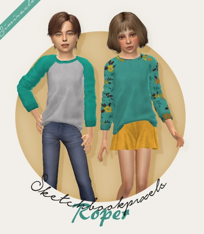Sims 4 Sketchbookpixels Roper 3T4 shirt for kids at Simiracle
