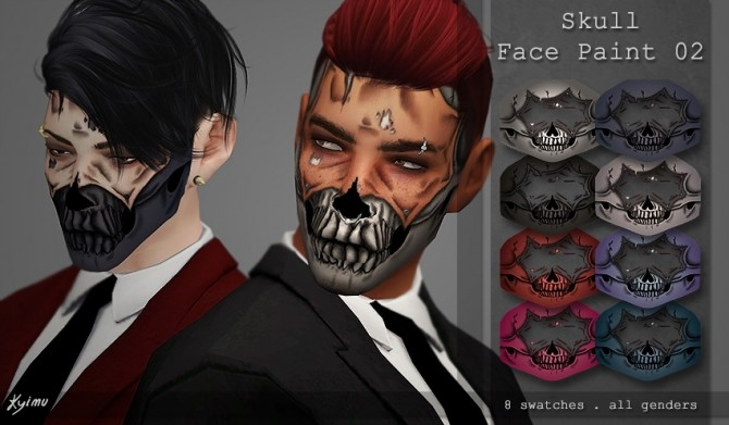 Skull face paint 02 at Quirky Kyimu image 111 670x391 Sims 4 Updates