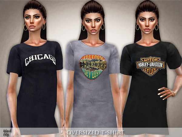 Sims 4 Oversized T Shirt by Black Lily at TSR