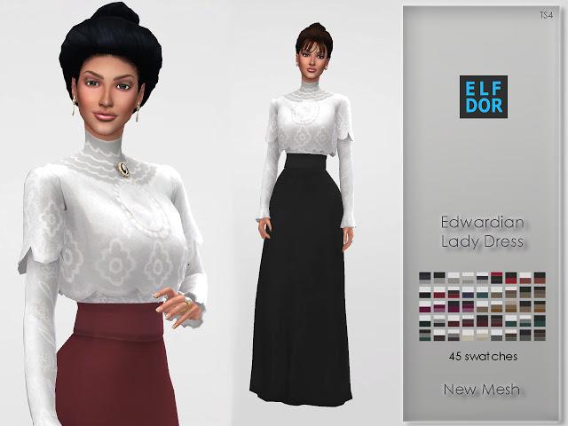 Sims 4 Edwardian Lady Dress at Elfdor Sims
