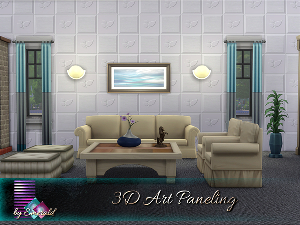 Sims 4 3D Art Paneling by emerald at TSR