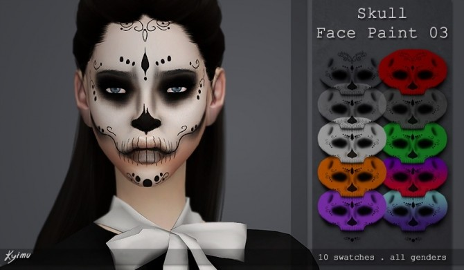 Skull face paint 03 at Quirky Kyimu image 112 670x391 Sims 4 Updates