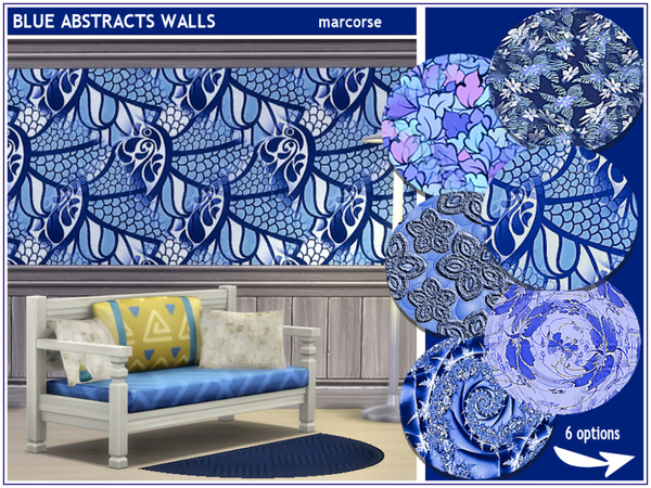 Blue Abstracts Walls by marcorse at TSR image 1160 Sims 4 Updates