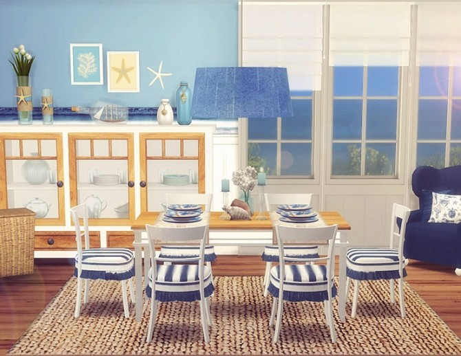 Coastal Dining Room by Sooky at Blooming Rosy » Sims 4 Updates