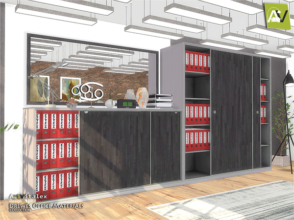 Sims 4 Drewes Office Materials by ArtVitalex at TSR