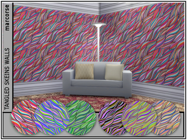 Sims 4 Tangled Skeins Walls by marcorse at TSR