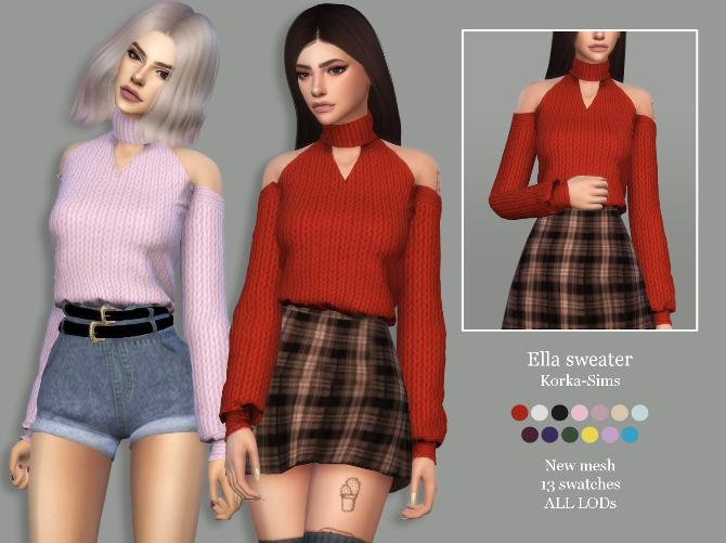 Ella sweater at Korka Sims image 141 670x501 Sims 4 Updates