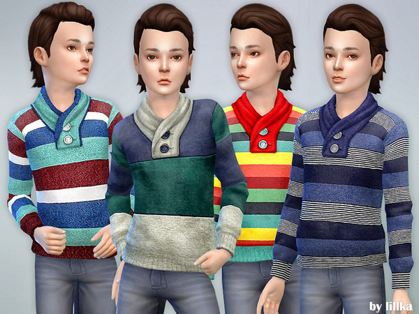 Sims 4 Striped Sweater for Boys by lillka at TSR