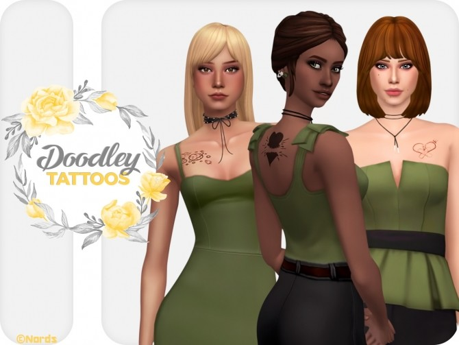 Doodley Tattoos Set at Nords Sims image 1633 670x503 Sims 4 Updates