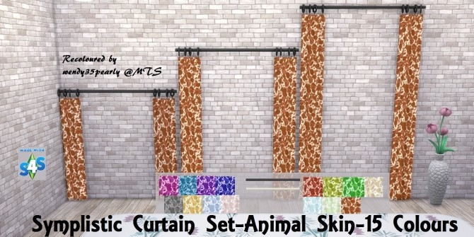Simplistic Curtain SET Animal Skin Pattern 15 Colours by wendy35pearly at Mod The Sims image 1671 670x335 Sims 4 Updates