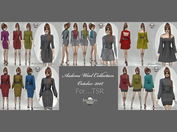 Sims 4 Asdemi wool dress 4 by jomsims at TSR
