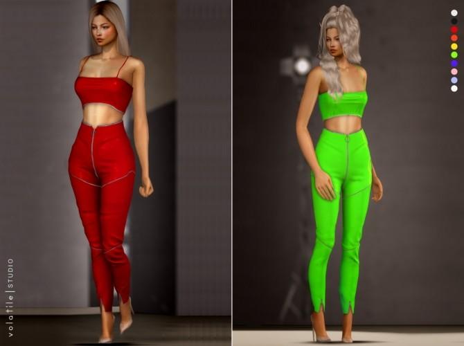 Mogul Set latex tank top and zipper pants at Volatile Sims image 1794 670x500 Sims 4 Updates