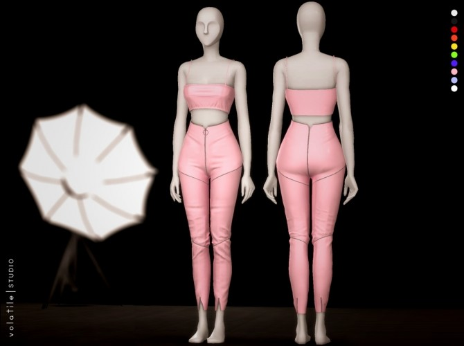 Mogul Set latex tank top and zipper pants at Volatile Sims image 1804 670x500 Sims 4 Updates