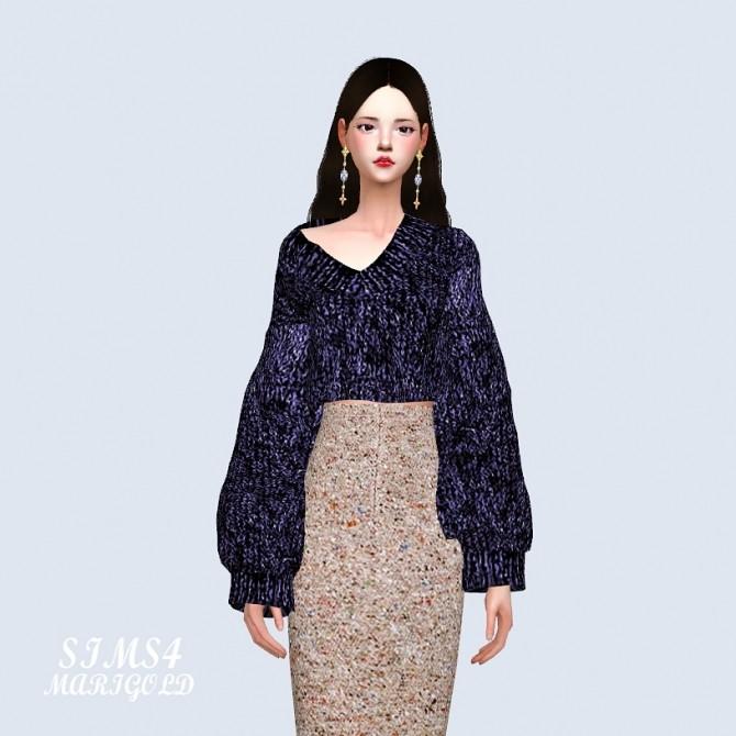 Sims 4 V Neck Crop Sweater at Marigold
