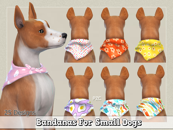 Bandanas For Small Dogs by Pinkzombiecupcakes at TSR image 1827 Sims 4 Updates