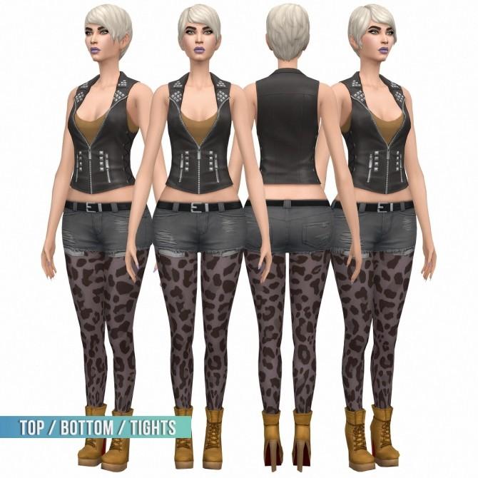 Sims 4 Top / Bottom + Tights Set at Busted Pixels