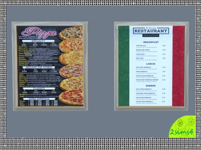7 food menu by lurania at Mod The Sims image 1875 670x503 Sims 4 Updates