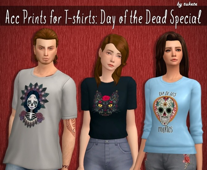 Sims 4 Acc Prints for T shirts Day of the Dead Special at Tukete