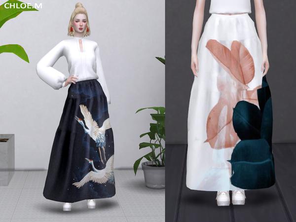 Sims 4 Long Skirt by ChloeMMM at TSR