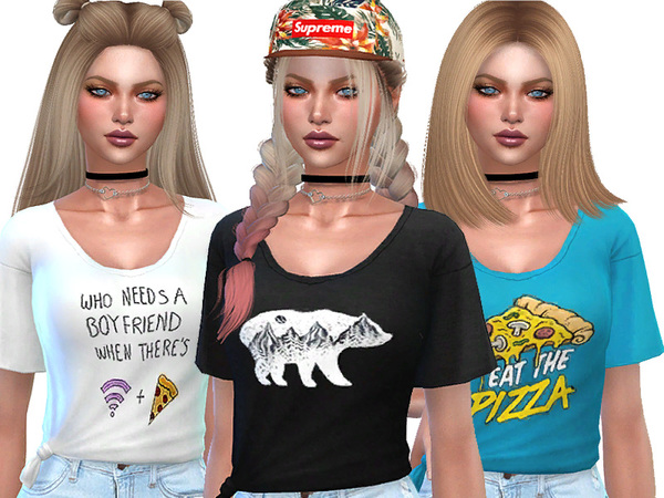 Sims 4 Knotted Everyday T shirts by Pinkzombiecupcakes at TSR