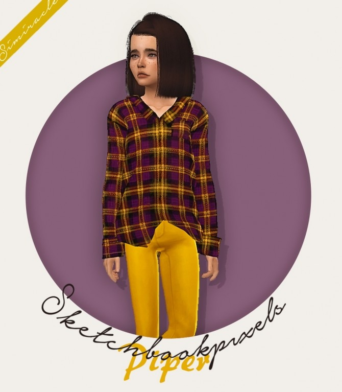 Sketchbookpixels Piper 3T4 plaid shirt for kids at Simiracle image 2133 670x767 Sims 4 Updates