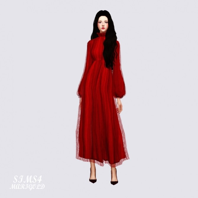 Long Chiffon Dress at Marigold image 2174 670x670 Sims 4 Updates