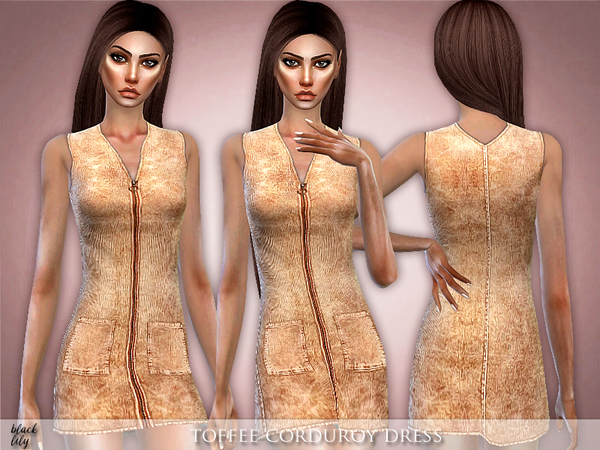 Toffee Corduroy Dress by Black Lily at TSR image 2225 Sims 4 Updates
