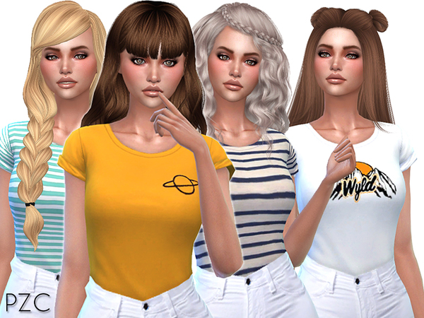 Cute T shirts Collection 02 by Pinkzombiecupcakes at TSR image 2311 Sims 4 Updates