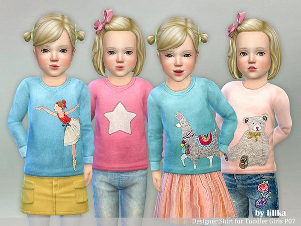 Sims 4 Designer Shirt for Toddler Girls P07 by lillka at TSR