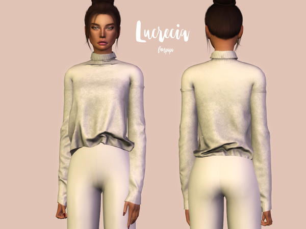 Sims 4 Lucrecia comfy sweater by laupipi at TSR