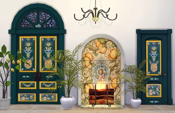 Sicilian Set Part 3 Doors and Fireplace by Sooky at Blooming Rosy image 2441 670x434 Sims 4 Updates