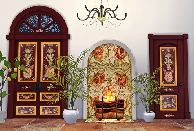 Sicilian Set Part 3 Doors and Fireplace by Sooky at Blooming Rosy image 2451 670x454 Sims 4 Updates