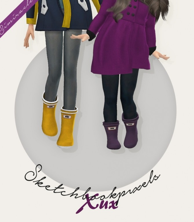 Sketchbookpixels Xux 3T4 wellies for kids & toddlers at Simiracle image 254 670x767 Sims 4 Updates