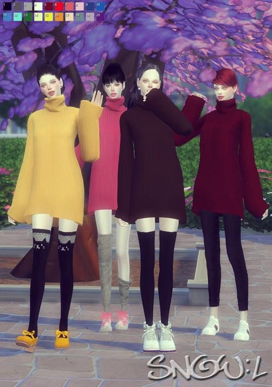 FB turtleneck dress at SNOW:L image 2621 Sims 4 Updates