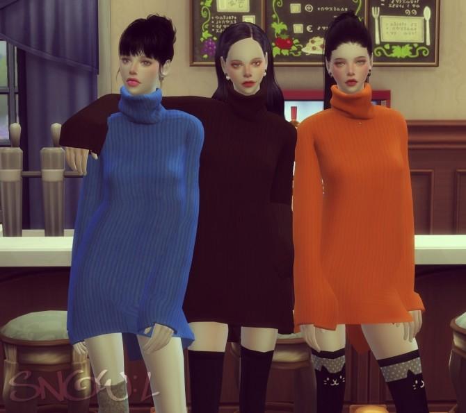 Sims 4 FB turtleneck dress at SNOW:L