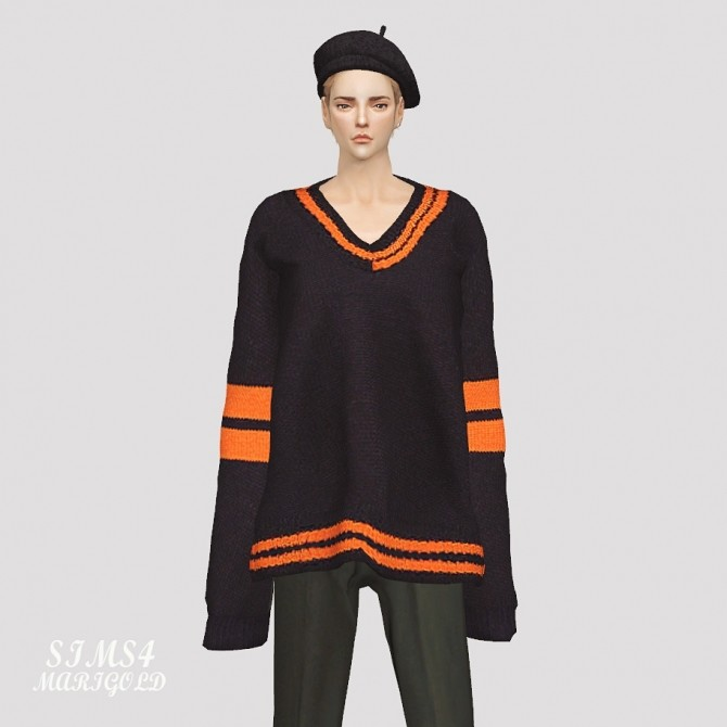 Male Long Sleeves V Neck Sweater at Marigold image 2662 670x670 Sims 4 Updates