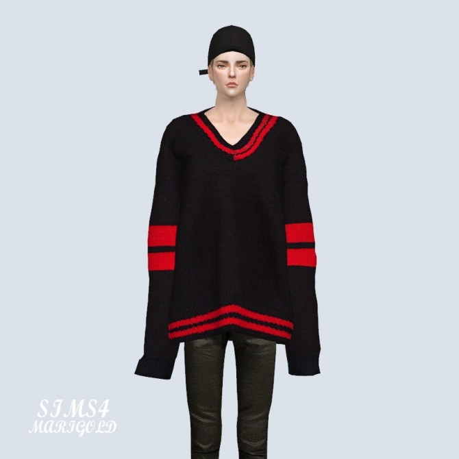 Male Long Sleeves V Neck Sweater at Marigold image 2672 670x670 Sims 4 Updates