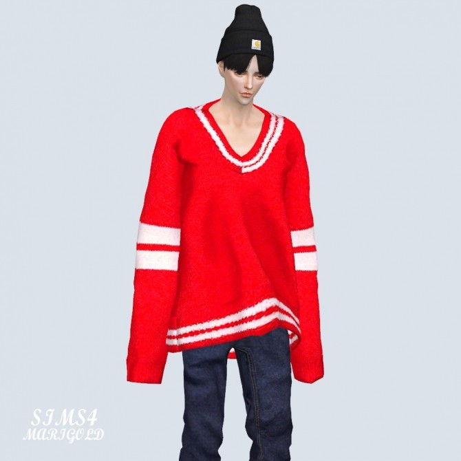 Male Long Sleeves V Neck Sweater at Marigold image 2682 670x670 Sims 4 Updates