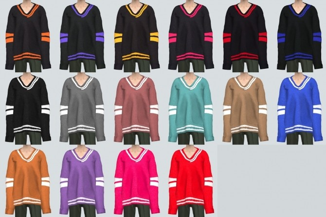 Male Long Sleeves V Neck Sweater at Marigold image 2692 670x448 Sims 4 Updates