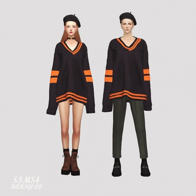 Male Long Sleeves V Neck Sweater at Marigold image 2716 670x670 Sims 4 Updates