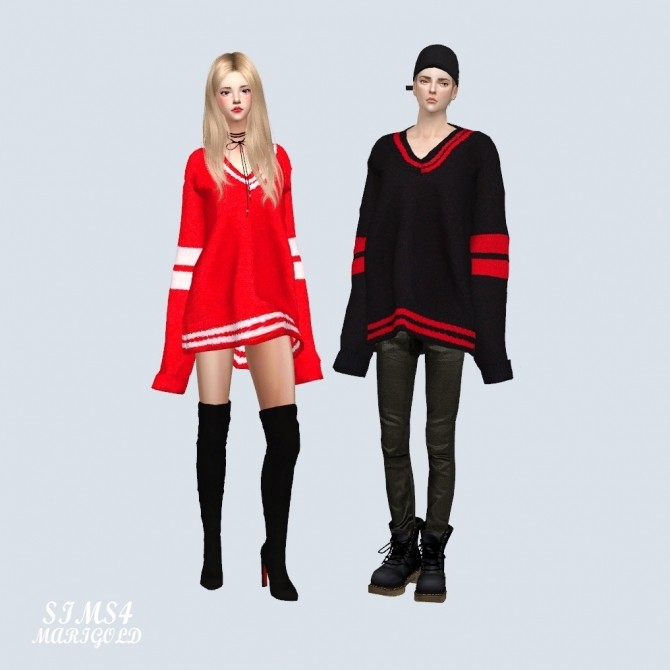 Male Long Sleeves V Neck Sweater at Marigold image 2722 670x670 Sims 4 Updates