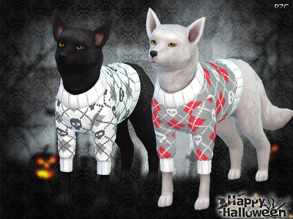 Sims 4 Halloween Sweaters For Small Dogs by Pinkzombiecupcakes at TSR