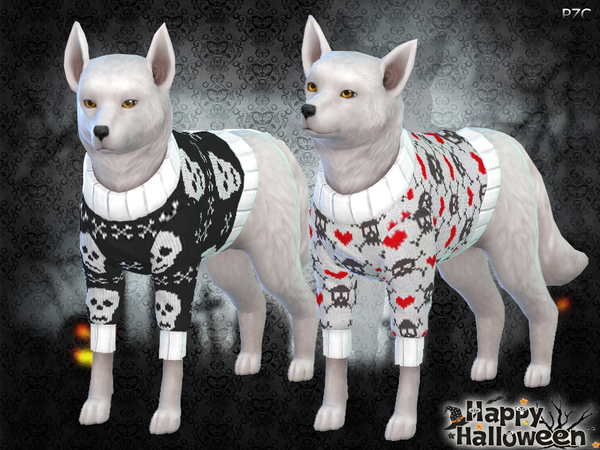 Halloween Sweaters For Small Dogs by Pinkzombiecupcakes at TSR image 2827 Sims 4 Updates