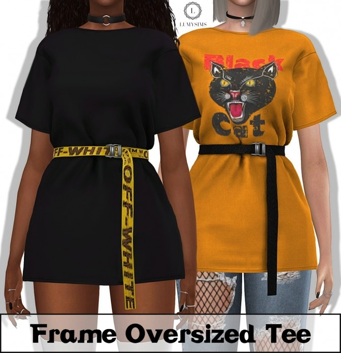 Frame Oversized Tee and Belt at Lumy Sims image 2832 670x695 Sims 4 Updates