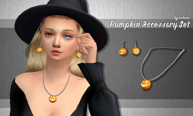 Pumpkin necklace & earrings Set at Tukete image 2872 670x402 Sims 4 Updates